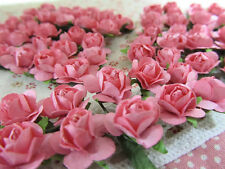 144 Mulberry Paper Rose Flower Bouquet/wire stem/scrapbooking/wedding H420-Pink