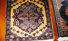 "Vintage table wall scatter rug red hand  knotted 18"" square Nice Oriental style"