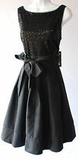 S.L. Fashions fit and flare sequined waist bow elegant black evening dress new