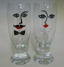 (2) Drinking Glasses Tumblers Goblets with Man & Woman Face ~ Cup Mug