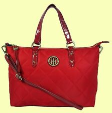 TOMMY HILFIGER TH Red Quilted Nylon & Leather Satchel Bag Msrp$98 *Reduced price
