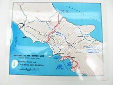 Antique Clear WWII Map SALERNO WINTER 1943 German/Italian Line BRITISH 8th Army