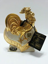 Ezra Brooks Whiskey Liqueur Decanter 1970 Rooster Heritage China 24K Gold Empty