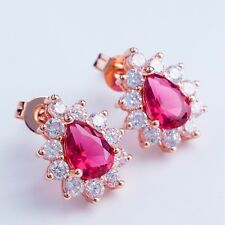 NICE GIFT  DESIGN ROSE GOLD PLATED RED Cubic Zircon STUD Earrings