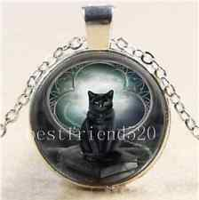 Black Cat And Moon Cabochon Glass Tibet Silver Chain Pendant  Necklace