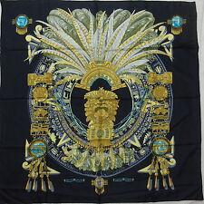 """Auth HERMES """"Mexique"""" by Caty Latham Black Silk Scarf N309"""