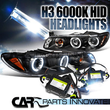 97-03 Grand Prix Black Halo LED Projector Headlights+H3 6000K HID Conversion Kit