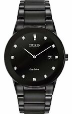 Mens Citizen Eco-Drive Black Stainless Steel Diamond Dial Date Watch AU1065-58G