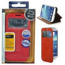 Tridea 100% Italian Standing S View Cover Case for Samsung Galaxy S4 i9500 Red