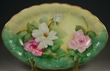 Beautiful Hand Painted ARTIST SIGNED Gold Rim Rose