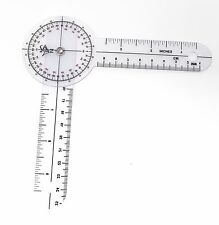 CLEAR SPINAL PLASTIC GONIOMETER PROTRACTOR RULER 360 DEGREE 6 inch