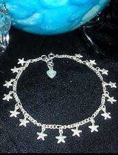 Vintage Sterling Silver Figaro Ankle Chain ~ 925 Star Charm Anklet Bracelet