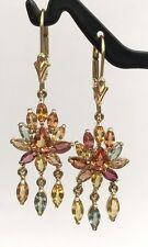 14k Solid Gold Leverback Cluster Dangle Earrings, Natural Color Sapphire 4CT