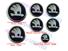 7 pcs 3D Badge Emblem Set Grille Trunk Steering Wheel Rims For Skoda Brand New