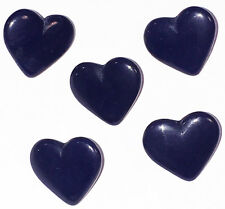 5 Little Vintage 1.4cm Czech Very Dark Blue Glass Heart Buttons