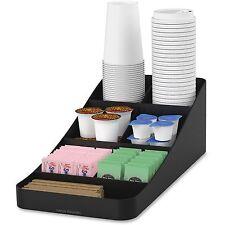 """Mind Reader Trove 7-Compartment Coffee Condiment Organizer Black 7 3/4"""" x 16"""""""