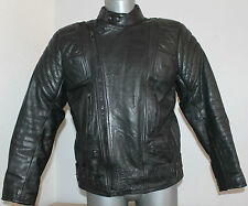 Mens Vintage Biker Jacket 100% Black Leather Cafe Racer Moto DoubleZip Brando 44