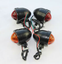 x4 Black Bullet Turn Sigal Blinkers Light Indicator Full Metal Housing Two Wires