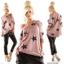 ► italia moda Lagenlook Jersey * suéter en Mauve estrellas 36 38 40 ◄ #2390