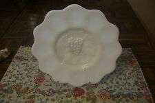 """Vintage 8.25"""" Grapevine Milk Glass Plate with Scalloped Edge & Round Base EXC"""