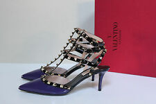 sz 5.5 / 36 Valentino Rockstud Purple Patent Leather Ankle Strap Stud Pump Shoes