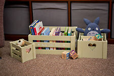 S/4 Vintage Wooden Childrens Kids Bedroom Nursery Toy Storage Boxes Crates Set