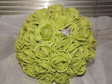 Wedding flowers lime green rose bouquet,diamante,bride,maid,flower girl,brooch