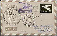 1970 - Volo Elipostale Riccione - San Marino - Busta da Israele