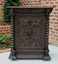 Antique French Oak Barley Twist Jacobean Style Jam Cabinet Buffet Bar Server