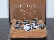 NEW $3000.00 GUCCI LOGO NAILS ITALY 925 STERLING SILVER BRACELET SIZE G 21