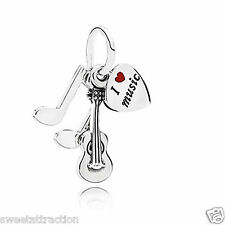 Authentic Pandora 791504EN09 Love Music Guitar Pendant bead  Box Included