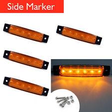 4 pcs 12V 24V Amber 6 LED  Bus Truck Car Trailer Side Marker License Light Lamp