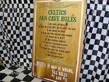 """Boston Celtics Fan Cave Rules  16"""" X 10"""" Wood Sign"""