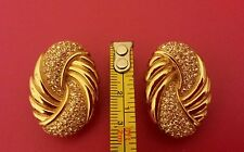 VINTAGE CHRISTIAN DIOR GERMANY LARGE CLIP ON EARRINGS. 1960s. Signed. Goldtone