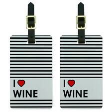 I Love Heart Wine Luggage Suitcase Carry-On ID Tags Set of 2