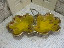Vintage California USA Pottery Divided Serving Dish Cal Orig 306 Gold Brown Tan