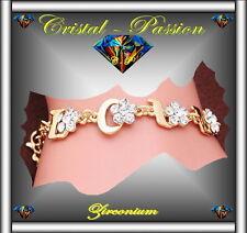 Bracelet femme  zirconium  Love Fleur doré or fin amour mariage      D4