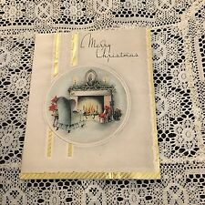 Vintage Greeting Card Christmas Fireplace Chair Home