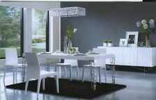 NEW White hi High Gloss Modern Dining Table with Silver legs