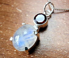 Faceted Garnet and 4-Pronged Rainbow Moonstone Pendant 925 Sterling Silver New