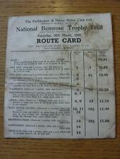 26/03/1960 Motor Racing: National Benrose Trophy Trail, Official Route Card (dir