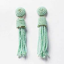 DAZZLING TURQUOISE BEADED TASSEL STATEMENT EARRINGS
