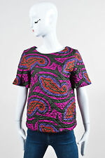 J.W. Anderson x Topshop Multi Color Silk Paisley Printed Quilted T Shirt SZ 4