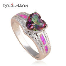 OR749#9 Amazing Heart Design Love Gift Purple Fire Opal Silver Rings for Women