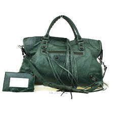 Authentic BALENCIAGA The City 2Way Shoulder Hand Bag Leather Green Mirror 81Z745