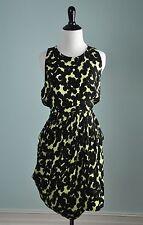 A.L.C. $495 100% Silk Black & Green Floral Pleated Tank Dress Size 10