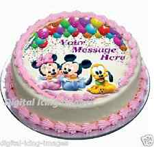 Baby Minnie, Mickey mouse Pluto Cake topper edible image icing  REAL FONDANT