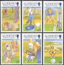 Alderney 2001 Golf/Golfers/Sports/Games/Ball/Clubs/Animation 6v set (n26162)