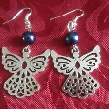 Angel drop  earrings purple early xmas present. silver plated, pearl,(316)