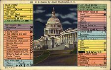 Washington DC America vinatage postcard 1942 gelaufen The Capitol by Night